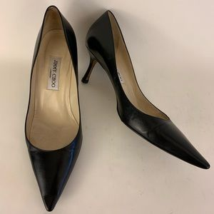 Jimmy Choo Classic Black Leather Pumps.
